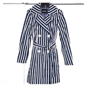 Navy and white express tie waist pea coat